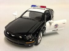 "2006 Ford Mustang GT Police 5"" Diecast 1:38 Pull Back Kinsmart Toy Black/White"