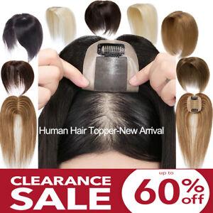 Remy Human Hair Topper Clip in Silk Base Crown Hair Piece For Thinning Hair AU