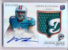 2012 Platinum - Logo Tag Patch AUTO - MICHAEL EGNEW #155 Dolphins RC /1058