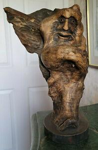 Wood Sculpture Spirit Hand Carved Folk Art Rustic Decor