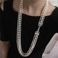 3 strands 6-10 mm round south sea white pearl necklace