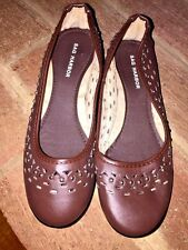 SAG HARBOR WOMENS LEATHER MULES Mary Jane Mocassins LOAFERS Shoes WEDGES Sz 7 ❤️