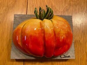 Original Carol Cline Ceramic Hand Sculpted Heirloom Tomato Vegetable NEW