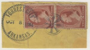8/8/1884 US SC# 210 US Foreign Mail Cancelled Pair AWESOME IMPRESSIONS