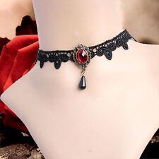 Pietra Rosso Nero Vintage Victorian Gothic Collana Girocollo in Pizzo di velluto