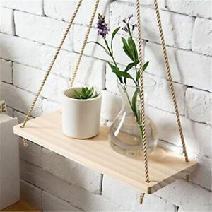Hanging Wood Swing Rope Floating Shelve Plant Flower Pot Wall Mounted Home Decor
