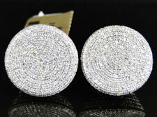 Mens Ladies 10K Yellow Gold 12 MM Diamond Pave Circle Round Stud Earrings 1.8 Ct