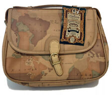 Vtg MAP PRINT SHOULDER BAG Purse Le Gallerie Collection May Co Leather Trim NEW