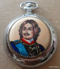 RUSSIAN  pocket watch wind up  PETER THE GREAT HANDPAINTED