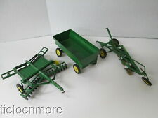 LOT OF 3 VINTAGE ERTL JOHN DEER TOY FARM TRACTOR IMPLEMENTS