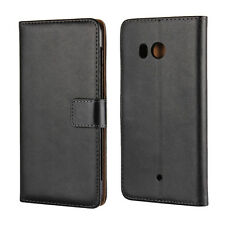 for HTC U11 Black Genuine Leather Flip Style Business Wallet Card Case Cover