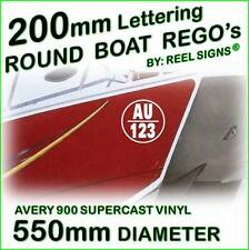 200mm ROUND BOAT REGO DECAL STICKER KIT - Custom Cast Vinyl Registration Numbers