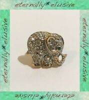 Vintage Gold Plated Diamante Crystal Pave Lucky Baby Elephant Pin Brooch Badge