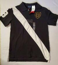 Polo Ralph Lauren Black #3- Sash Embroidered Crest Polo Shirt Sz L (14-16) NWT
