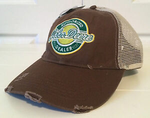 John Deere Brown Fabric Hat Cap w Tan Mesh Back and RETRO Patch