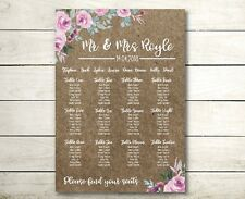 A3 floral Kraft design Wedding table seating plan (A2 also available)