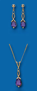 Gold Amethyst Pendant and Earrings Set Yellow gold Solid Hallmarked