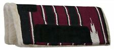 "Showman Mini Horse Saddle Pad Navajo Design Fleece Bottom 20"" x 20"" Burgundy"
