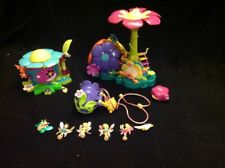 Polly Pocket Flower Fairy Honey Bee Compact~Flying School~Petal House~5 Dolls