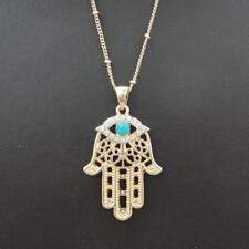 Charm Turquoise Evil Eye Hand of Fatima Hamsa Pendant Necklace Jewelry Gold