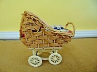 Antique VTG Wicker Baby Doll Carriage Stroller Blanket pillow WEST GERMANY toy