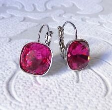 Fuchia Hot Pink Leverback Drop Earring made w/ Cushion Cut Swarovski Crystal