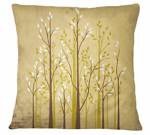 S4Sassy Square Cushion Cover Tree Print Beige Pillow Case Home Decor-oSx