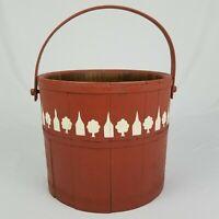 Antique Firkin Sugar Bucket Primitive Red Painted Farmhouse 1800's