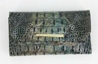 Brahmin Melbourne Collection Soft Checkbook Wallet Talisman Gray Black Ombre