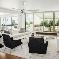 52'' Reversible Three-Blade Ceiling Fan Remote Control Modern White Noiseless