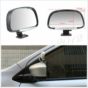 One Pair Wide Angle Adjustable Vehicle Blind Spot Side Rear View Mirrors Silver