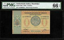 Netherlands Indies 1 Gulden 1940  PMG 66 EPQ UNC P#108a Muntbiljet