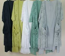 LADIES QUIRKY LAGENLOOK LAYERING BEAUTIFUL COTTON  LACE FRONT 2 POCKETS JACKET