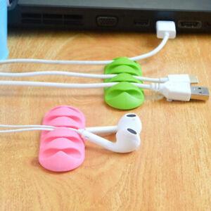 Adhesive Holder Organizer 5 Hole USB Cable Desktop Tidy Management Clips Winder