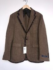 Polo Ralph Lauren Brown Tweed Wool Coat Blazer Silk Repp Rowing Prep 40R
