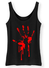 Bloody Hand Print Tank Top Ladies Womens Zombie Horror Blood goth rock punk vest