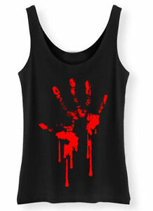 Bloody Hand Print Tank Top Ladies Womens Zombie Horror Blood goth rock punk vest