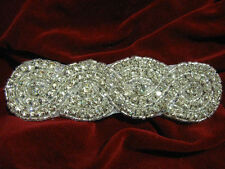 SILVER DESIGNER HIGH END RHINESTONE BEADED APPLIQUE 2502-U2