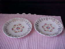 Vintage Saucers Floral Pattern with Gold Design Not Marked Maker Unknown