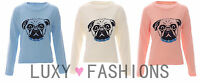NEW LADIES WOMENS PUPPY DOG PUG STUDDED KNITTED JUMPER SWEATER PULLOVER TOP 8-14