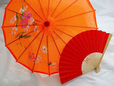 JAPANESE S ORANGE PARASOL RED PAPER HAND FAN CHINESE UMBRELLA GIRL DANCE PARTY