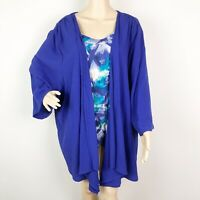 Maggie Barnes Cardigan Top 5X Blue Layered Open Front Built in Tank Twofer