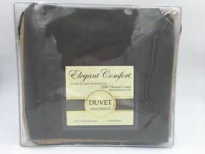 Elegant Comfort Duvet & Sham NIP 1500 Thread Count Dark Gray Twin or Twin XL K1