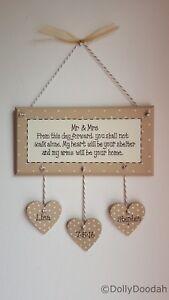 Personalised Soft Beige Mr & Mrs Romantic Plaque Gift Wedding Anniversary Heart