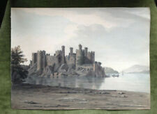"c.1795-1801  ""CONWAY CASTLE LOOKING UP"" FINE ORIGINAL WATERCOLOUR CONWY, WALES"