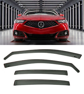 For 15-Up Acura TLX Side Window Deflectors JDM Rain Guards In-Channel Visors New