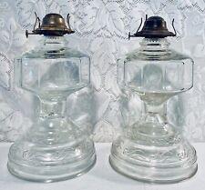 Pair Set Clear P & A Mfg. Co. Oil or Kerosene Lamp Thomaston Ct USA EAGLE Match