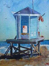 "Original Watercolor Painting  ""Lifeguard on duty"" 7"" X 5"" Original art"