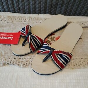 NWT Havaianas Womens Sandals Flip Flops Red,White,Blue, Size 9/10