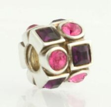 NEW Chamilia Bead Charm -Sterling Silver Pink Circles & Purple Squares 2083-0404